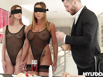 The first lesbian experience in a threesome is memorable for Ana Rose
