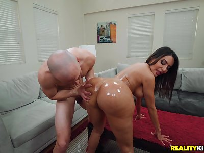 After Lela Star gets herself oiled up she enjoys rough sex with a dude
