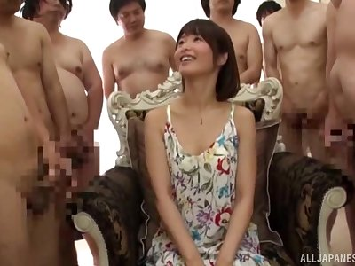 Hardcore gangbang and a face covered with cum for an amateur Japanese