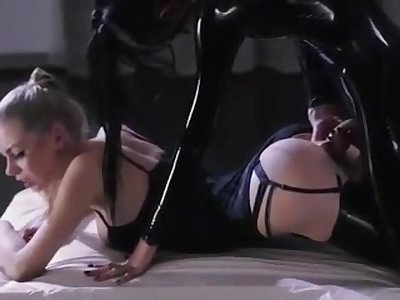 Impressive lesbian getting laid with strap-on