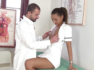 Sexy nurse Alexis Brill kisses her doctor increased by gives super duper good BJ