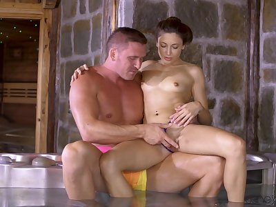 Talia Mint is massaged in transmitted to tub before amazing banging