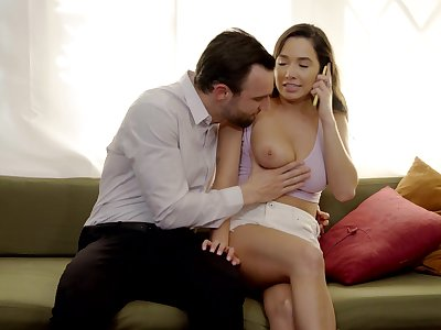 Sweetie leaves the bearded lover fuck the brush pussy the way she deserves