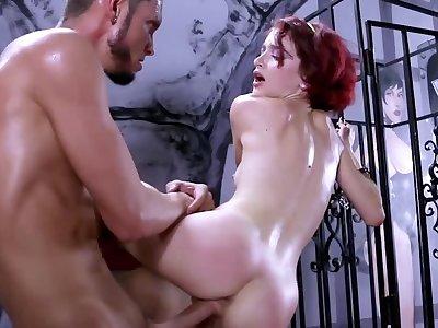 Ginger slavegirl is brutally fucked in the lovemaking dungeon